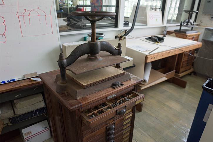 The book bindery room