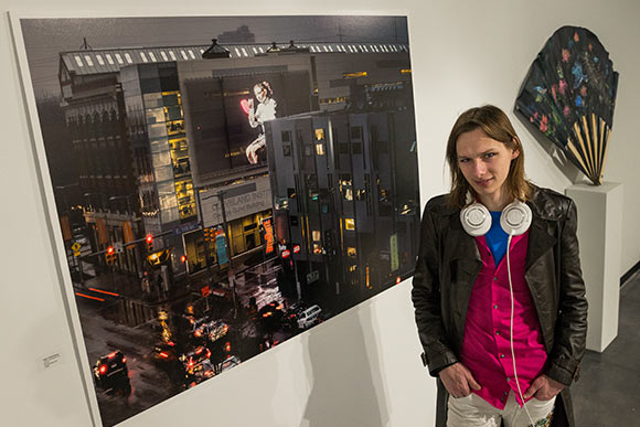 "Dagen Shellenberger, a junior Photography + Video major, won this year's Nunes Family Prize, bestowed by CIA President Grafton Nunes, for his photo ""I don't Care About Your Opinion"""