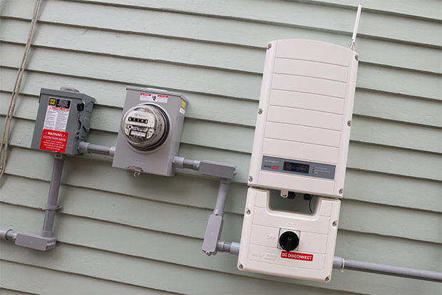 The solar DC-AC inverter on Paul Schroeder's home in Old Brooklyn