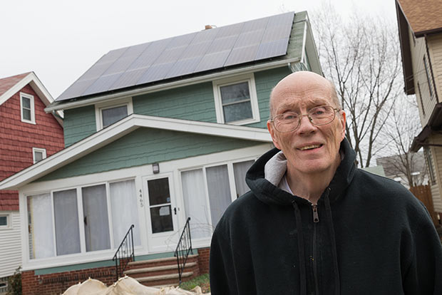 Paul Schroeder of Old Brooklyn installed a solar power system on the roof of his South Hills Drive home