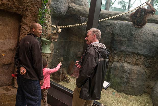 Curator Tad Schoffner talks with visitors at the Cleveland Metroparks Zoo