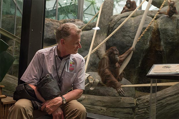 Cleveland Metroparks Zoo curator Tad Schoffner at the Orangutan exhibit