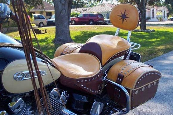 Buckskin and tobacco deerskin bike overhaul.seats saddlebags fringe