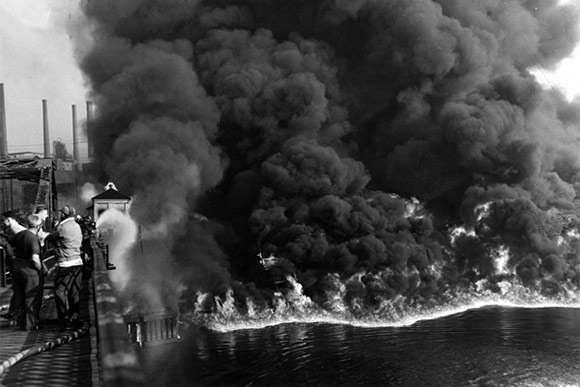 The burning Cuyahoga River in 1952