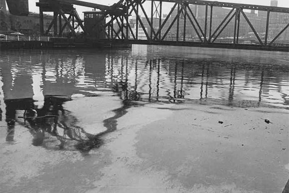 An oil slick in the Cuyahoga River in 1965
