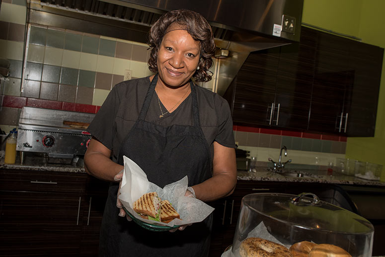 Racquel Jones, manager of Bridgeport Caf�, owned by BBC