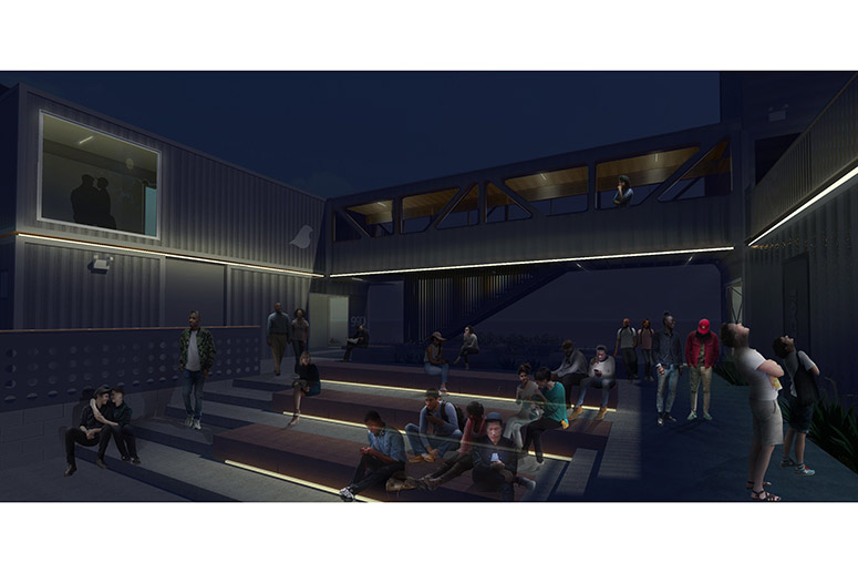 Box Spot courtyard at night rendering