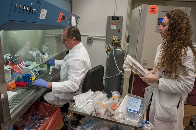 Dr. Tuohy and research assistant Valerie Swank in the lab