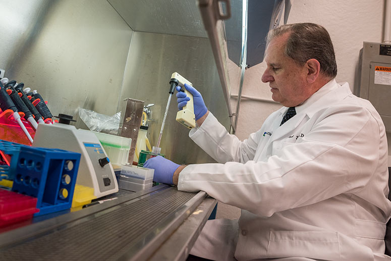 Dr. Tuohy at the Cleveland Clinic Cancer Research Lab