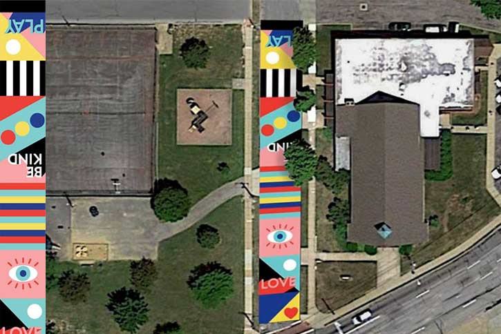 Aerial view of the Rosewood Avenue Mural