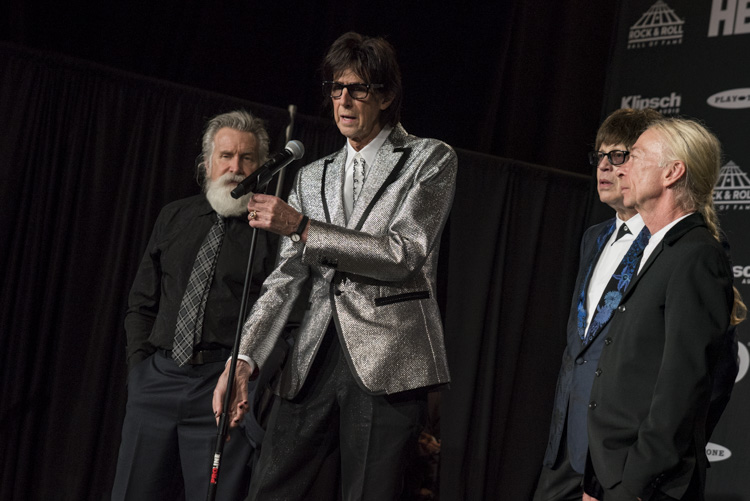 The Cars backstage at the 33rd Rock & Roll Hall of Fame Induction Ceremony