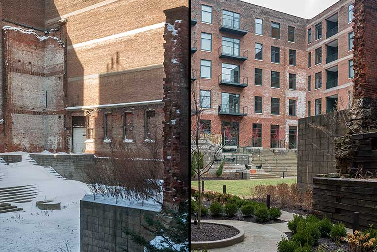 Left: the YARDS building in 2014 before the windows were cut in and right: today