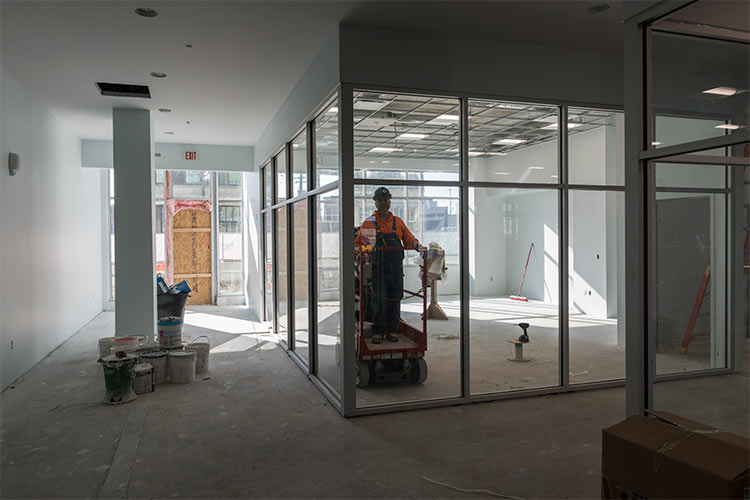 The reception area under construction at the Music Settlement