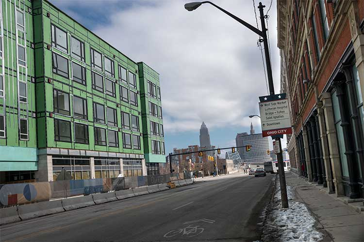 View on Detroit Ave of The Quarter, future home of the Music Settlement in Ohio City