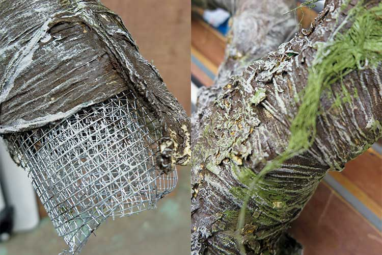 Detail of a tree branch created by Bruce Orendorf out of chicken wire and recycled material