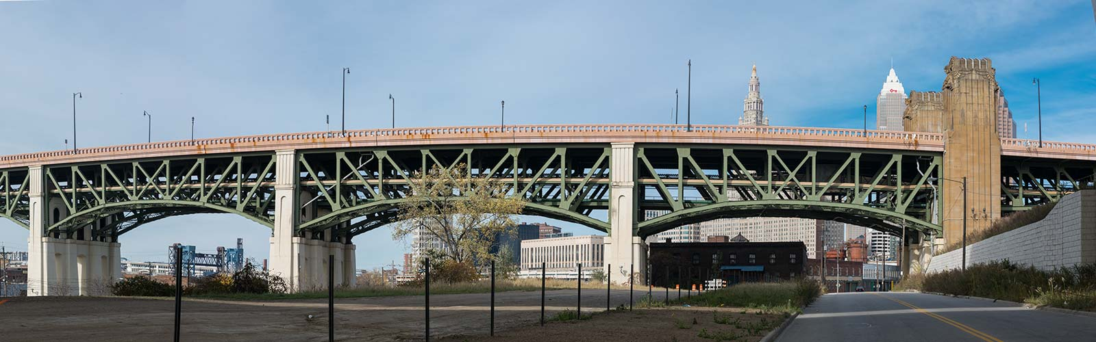 Part of the Rite Aid Marathon Route under the Lorain Carnegie Bridge on Canal Rd. <span class='image-credits'>Bob Perkoski</span>