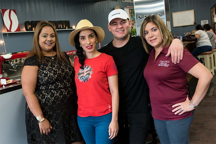 L-R: Jenice Contreras,Executive Director of Northeast Ohio Hispanic Center for Economic Development, Haguit Marrero of Pura Cepa, Lalo Rodriguez of Café Social Latinoamericano and Jeanette Ortiz of Ortiz Art Drafts Designs, LLC