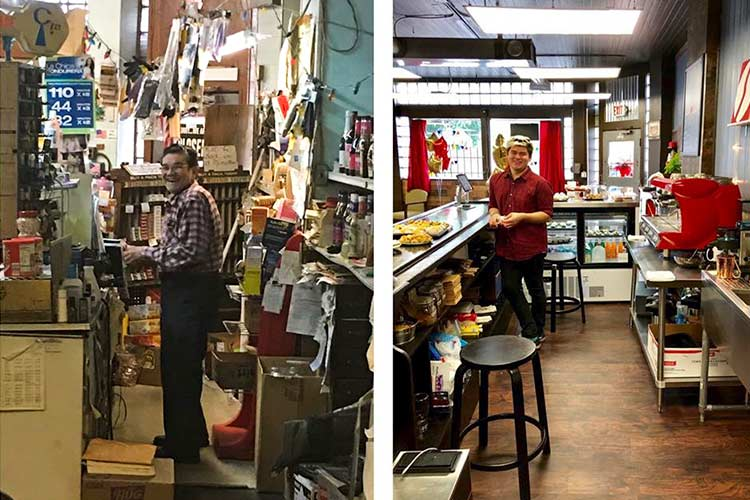 Original owner Cesi Castro attending his counter and now: Las Tienditas Del Mercado then and now with Lalo Rodriguez