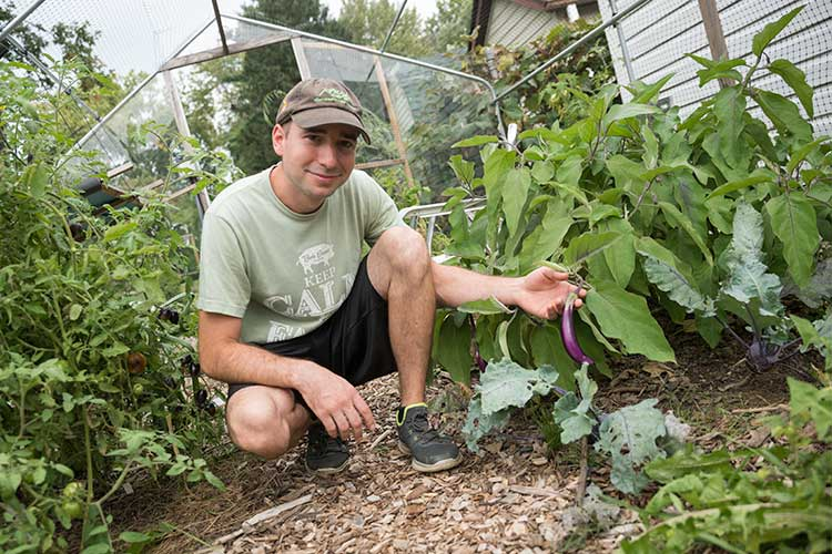 Ronald Kasper with an Eggplant growing at Orchard Grove