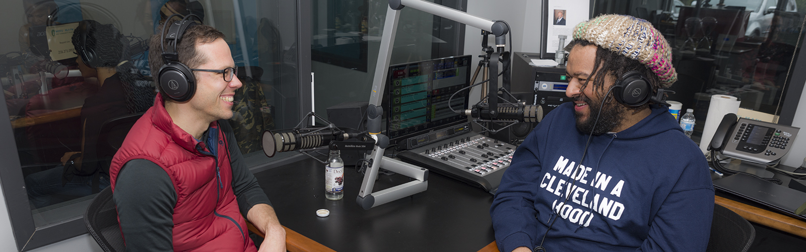 Justin Glanville and Julian Khan at WOVU 95.9 recording This Is Shaker Square: The Podcast <span class='image-credits'>Bob Perkoski</span>