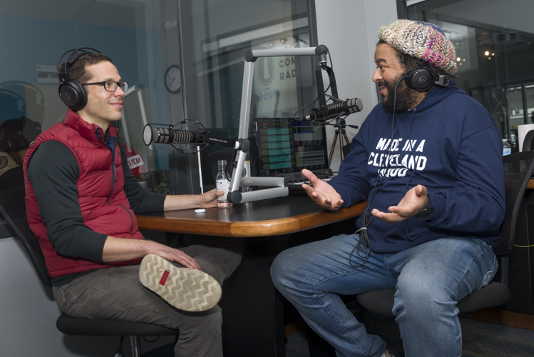 Justin Glanville and Julian Khan at WOVU 95.9 recording This Is Shaker Square: The Podcast