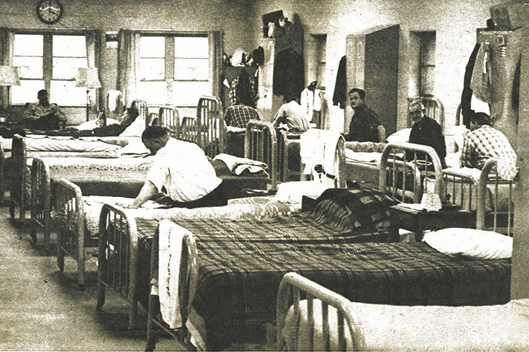 Old photo of the dorm room at Stella Maris in 1968