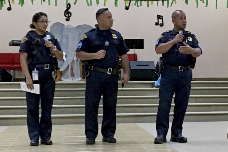 Hispanic Police Officers Association outreach event at Primera Iglesia Bautista