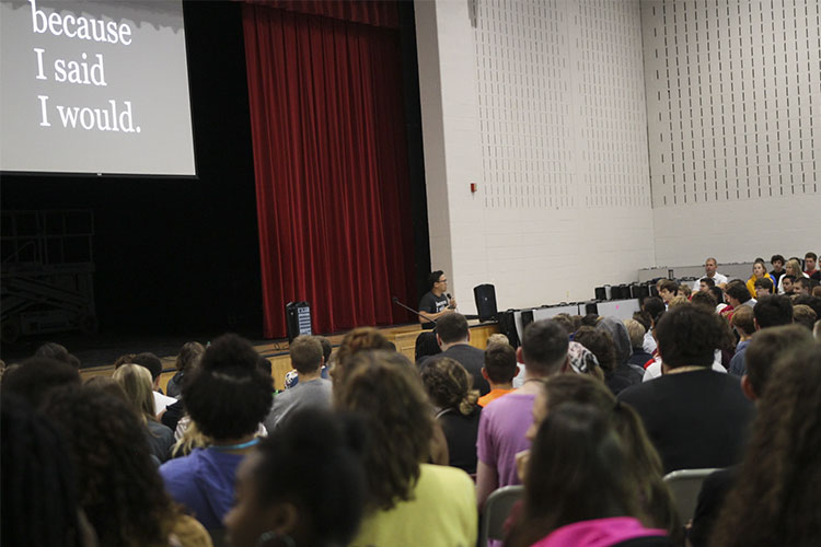 Alex Sheen speaking at Woodridge High School Assembly