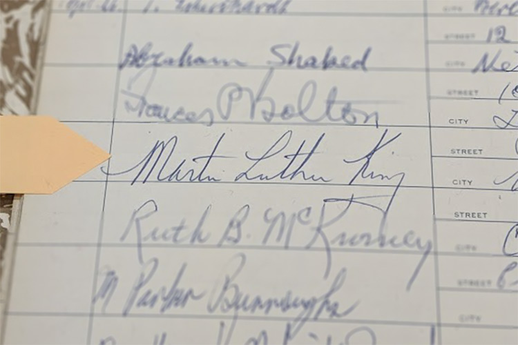 Dr. Martin Luther King, Jr. visited Karamu House and signed the guestbook in 1963 while in town to deliver a speech at Olivet Institutional Baptist Church