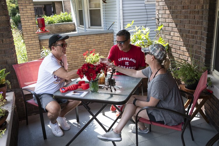 Porch life at the Vanatter/Barr home with their friend Helen in Glenville