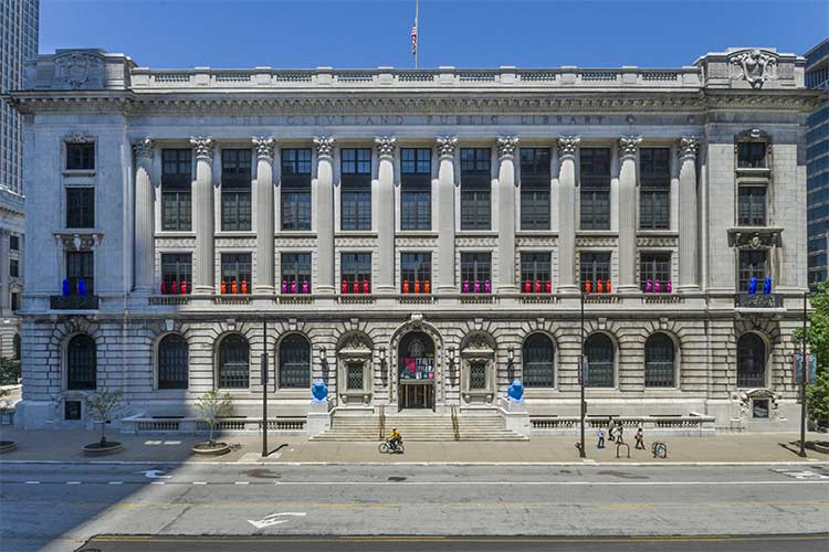 Cleveland Public Library Main adorned with the Cracking Art creatures in 2016
