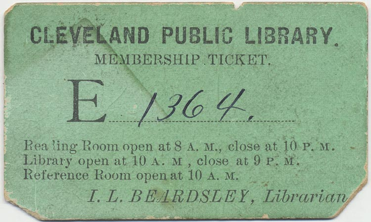 Early Cleveland Public library card 1890