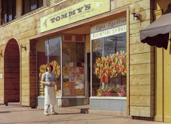 Tommy's opened as a small soda fountain in 1972.  This is a photo of the restaurant's first location on the corner of Coventry and Euclid Heights Boulevard