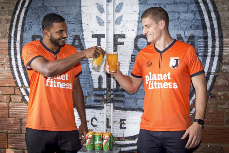 Cleveland SC Captains Vinny Bell and Coletun Long at Platform's Orange Aid Sour Release