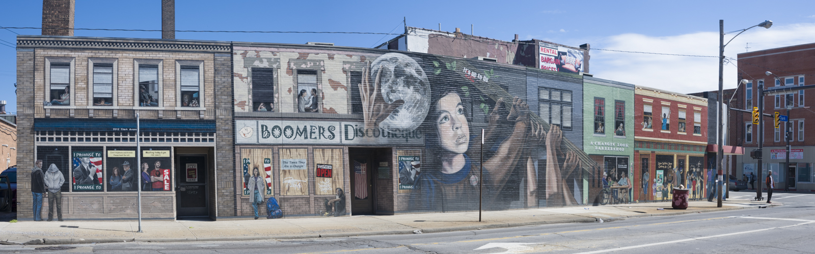 "The ""mi barrio"" mural on Clark and W25th"