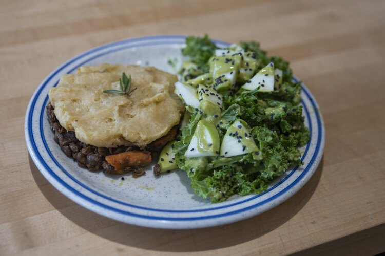 Baba Yaga's Shepards Pie - Lentil vegetable berber spice, topped with creamy mashed potatoes.