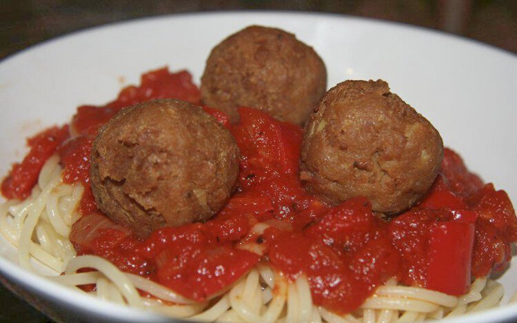 Vegan spaghetti and meatballs from from MoBite