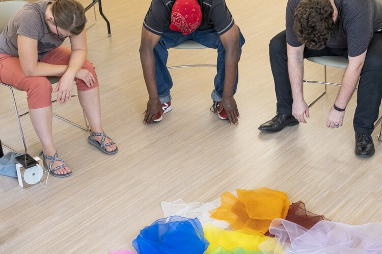 FrontLine classes combine relaxation, stretching, and movement exercises with art to help participants de-stress and engage in activity.
