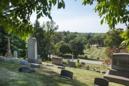 This view from the Jeptha Wade monument overlooking Lake View Cemetery, with a view of Lake Erie, is popular.