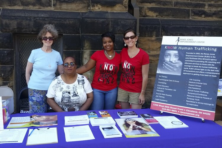 Volunteers for the Renee Jones Empowerment Center actively do outreach across the city, including tabling to raise awareness about human trafficking.