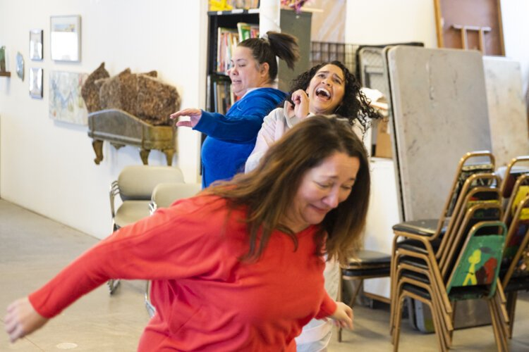 "A recent rehearsal for ""Divorciadas, Evangelicas y Vegetarianas"" at Art House."