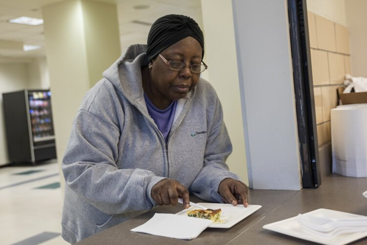 One of the seniors at the Cuyahoga Metropolitan Housing Authority's Cedar High Rise enjoys some delicious healthy quiche.