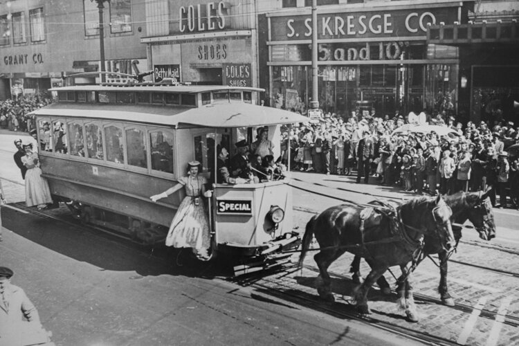 """Streetcar City"" reconstructs life in Cleveland when streetcars shaped urban patterns still with us today. Here, a ""Parade of Progress"" down Euclid Avenue in 1953 marks the end of the streetcar era."