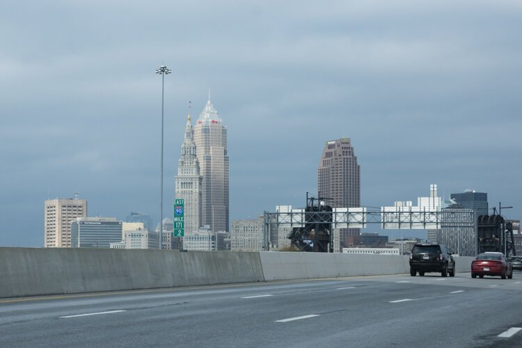 The Cleveland skyline today sans the Cleveland Cold Storage Building.