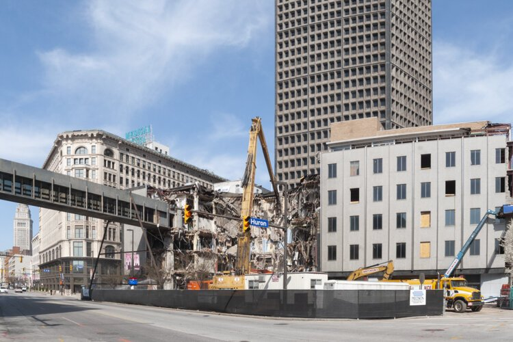 Demolition to make way for the new Cuyahoga County Administrative Headquarters on East Ninth Street in 2013.
