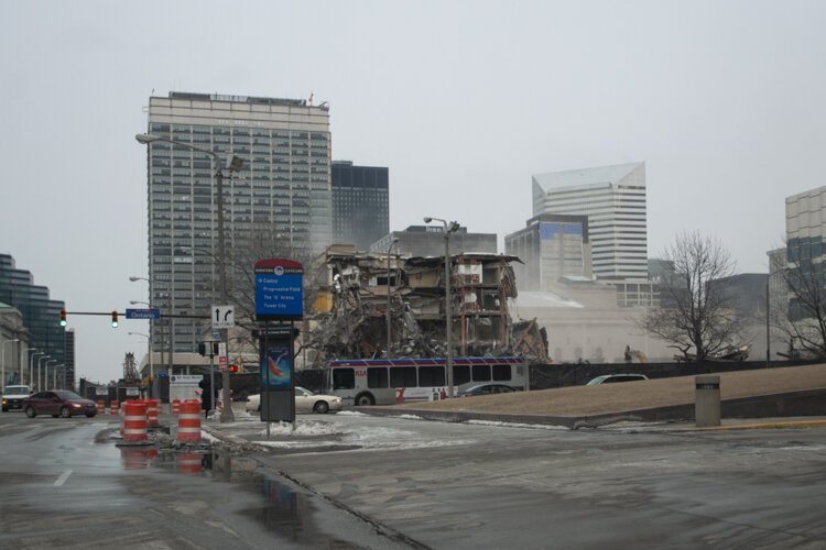 The Cuyahoga County Administration building demolition in 2014 to make way for the Hilton Cleveland Downtown.