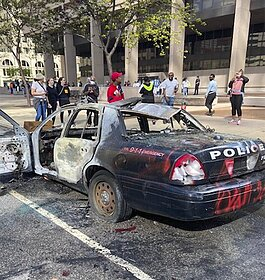 A burned out Cleveland Police cruiser downtown.