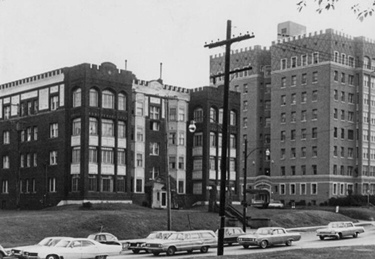 Shot of the former Doctor's Hospital from the 1950's that once stood on the plot for the new Top of the Hill development.