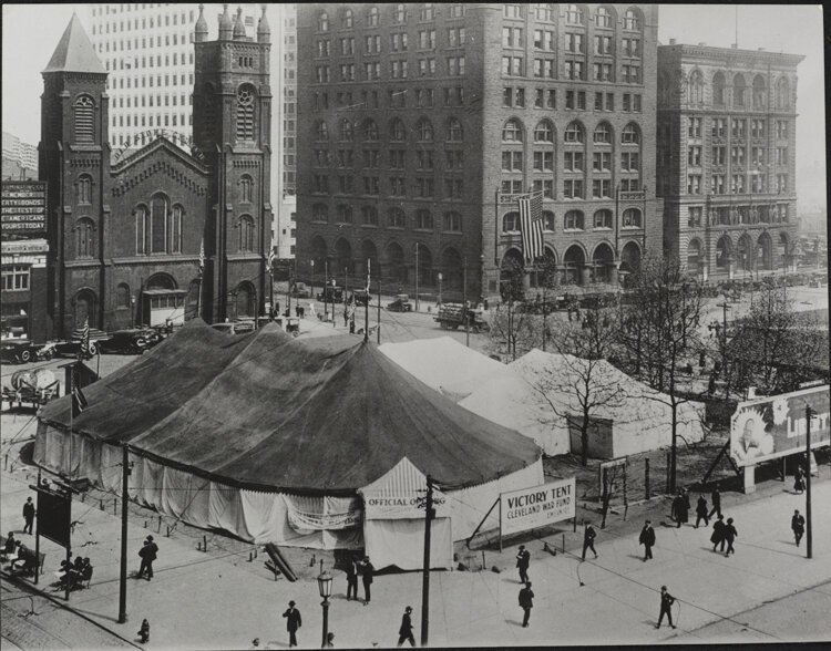Old Stone Church in Public Square 1918