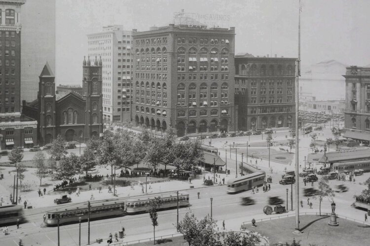 Old Stone Church in Public Square 1929